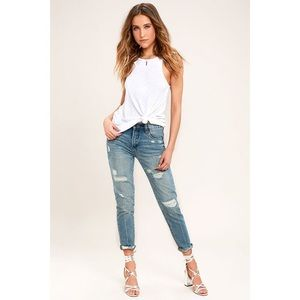 BlankNYC Pin-Up High Rise Distressed Skinny Jeans